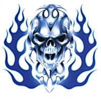 Lethal Threat Bio Skull Blue Flame Decal