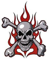 Lethal Threat Red Flame Skull Decal
