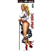 Lethal Threat Large Red Race Girl Decal