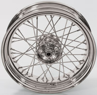 V-Twin Manufacturing Replica 40 Spoke Star Hub Chrome Rear Wheel, 16 x 4.00