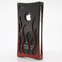 Wicked Metal Jacket Billet Hot Rod iPhone 4 Black and Red Case