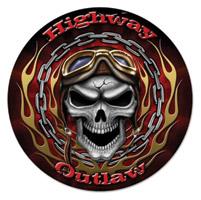 Lethal Threat Warrior Skull Metal Sign