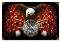 Lethal Threat American Firefighter Metal Sign