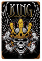 Lethal Threat King Skull Metal Sign