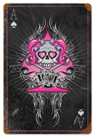 Lethal Threat Pink Ace Skull Metal Sign