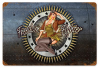 Lethal Threat Freedom Fighter Metal Sign