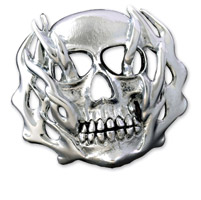 American Cycle Accessories Flaming Skulls Gas Cap Cover