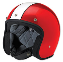 Biltwell Inc. Bonanza Racer White/Red Open Face Helmet