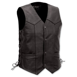 First Manufacturing Co. Classic 4-Snap Side Lace Men's Black Vest