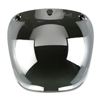 Biltwell Inc. Chrome Mirror/Smoke Tint 3-Snap Bubble Shield