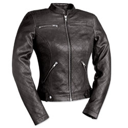First Manufacturing Co. Queen of Diamonds Ladies Black Leather Jacket
