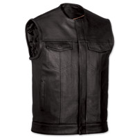 First Manufacturing Co. Men's Collarless MC Black Leather Vest