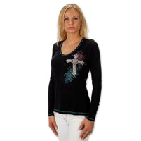 Liberty Wear Antique Cross Ladies Black Long Sleeve Tee