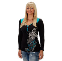 Liberty Wear Cross Over Ladies Black/Teal Henley Long Sleeve Tee