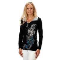 Liberty Wear Cross Over Ladies Black/Grey Henley Long Sleeve Tee