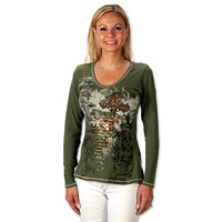 Liberty Wear Celtic Foil Cross Ladies Olive Long Sleeve Tee