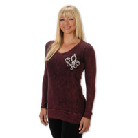 Liberty Wear Fleur Ribbon Angel Ladies Purple Long Sleeve Tee
