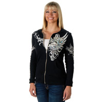 Liberty Wear Blue Rose Ladies Black Full Zip Hoodie