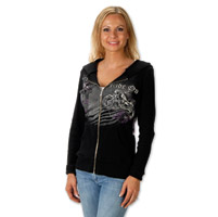 Liberty Wear Ride On Ladies Black Full Zip Hoodie
