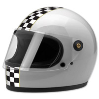 Biltwell Inc. Gringo S LE Checker Metallic Silver Full Face Helmet