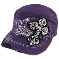 Embellished Cross Ladies Purple Cadet Cap