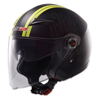 LS2 OF569 Party Matte Black/Hi-Viz Open Face Helmet