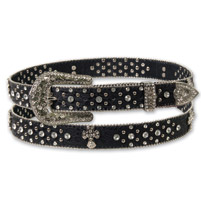 Hot Leathers Cross Studs & Rhinestone Ladies Black Belt