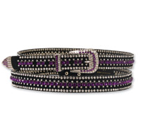 Hot Leathers Round Purple Rhinestone Ladies Black Belt