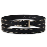 Hot Leathers Small Stud Black Leather Belt