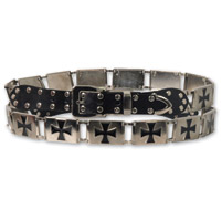 Hot Leathers Iron Cross Stud Black/Silver Belt