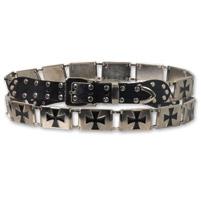Hot Leathers Iron Cross Stud Black/Silver Belt