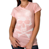Hot Leathers Skull and Crossbones Ladies Pink T-Shirt