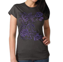 Hot Leathers Glitter Roses Women's Smoke T-Shirt
