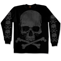 Hot Leathers Skull and Crossbones Men's Black Long Sleeve T-Shirt