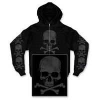 Hot Leathers Skull and Crossbones Men's Black Full Zip Hoodie