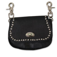 Hot Leathers Stud and Rhinestone Black Clip Pouch