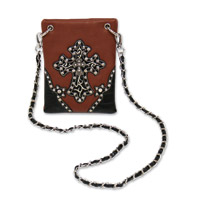 Hot Leathers Cross and Stars Rhinestone Brown/Black Purse
