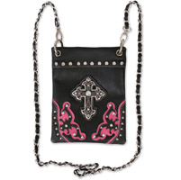 Hot Leathers Fuchsia Stone Cross Pink/Black Purse