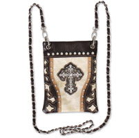 Hot Leathers Cross and Beige Cut Outs Brown Purse