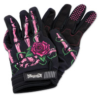 Lethal Threat Women's Pink Rose Black Garage Gloves