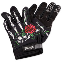 Lethal Threat Women's Red Rose Black Garage Gloves