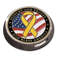 MotorDog69 Victory Universal Coin Mount with Support the Troops Coin