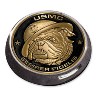 Motordog69 Gold Wing Fuel Door Coin Mount with Marine Bulldog Coin
