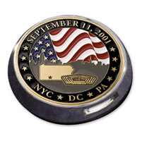 MotorDog69 Gold Wing Fuel Door Coin Mount with September 11th Commemorative Coin