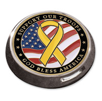 Motordog69 Gold Wing Fuel Door Coin Mount with Support The Troops Coin