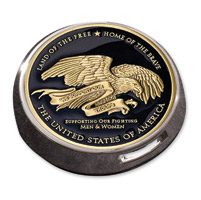 MotorDog69 Gold Wing Fuel Door Coin Mount with Thank You To The Troops Coin