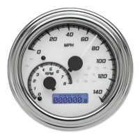 Dakota Digital White/Gray MVX-2002 Series Analog Gauge System with Chrome Bezel