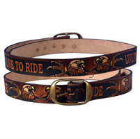 Embossed Live To Ride Leather Belt