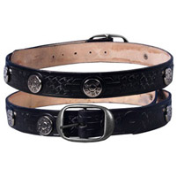 Embossed 44 Magnum Studs Leather Belt
