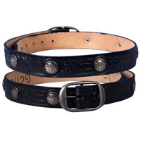 Embossed Buffalo Studs Leather Belt